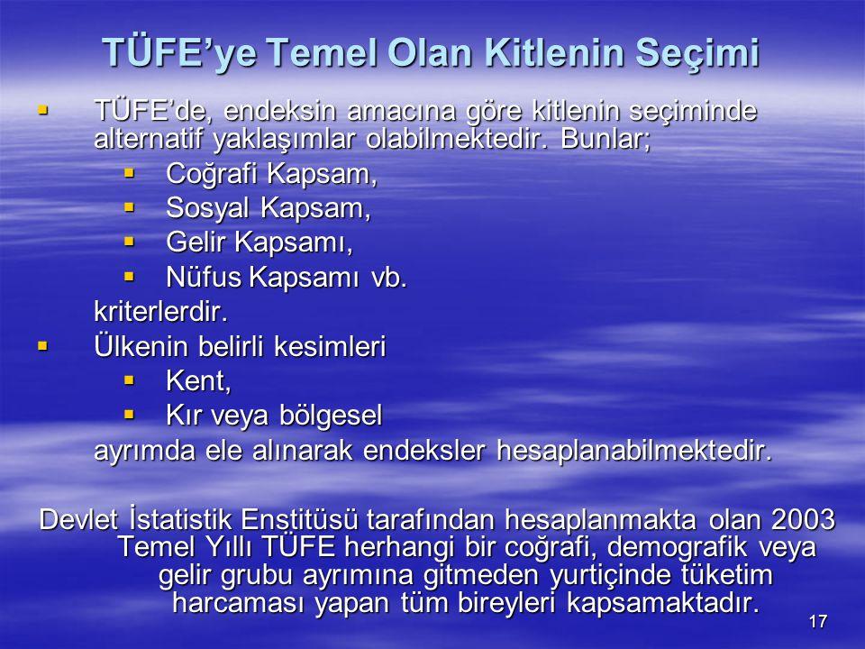 17 TÜFE'ye Temel Olan Kitlenin Seçimi  TÜFE'de, endeksin amacına göre kitlenin seçiminde alternatif yaklaşımlar olabilmektedir. Bunlar;  Coğrafi Kap