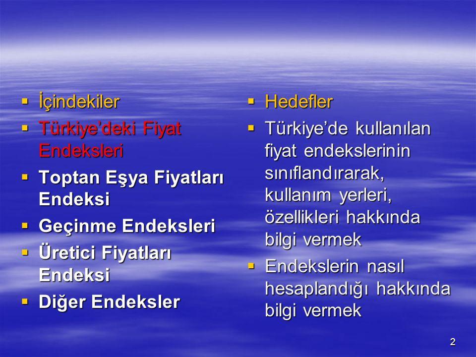  İçindekiler  Türkiye'deki Fiyat Endeksleri  Toptan Eşya Fiyatları Endeksi  Geçinme Endeksleri  Üretici Fiyatları Endeksi  Diğer Endeksler  Hed