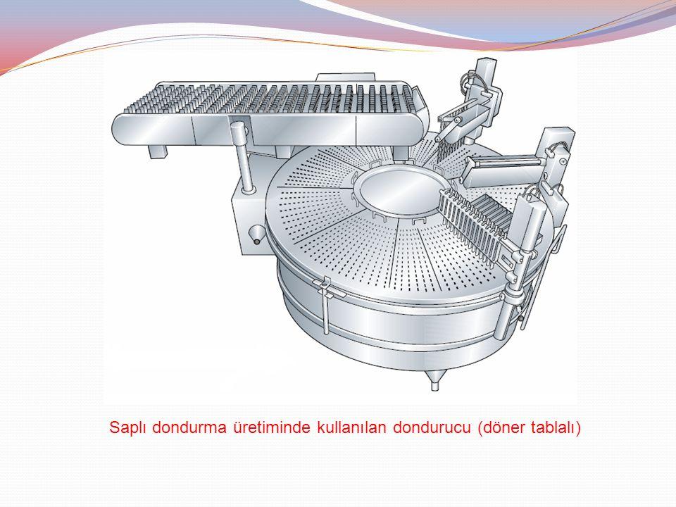 Saplı dondurma üretiminde kullanılan dondurucu (döner tablalı)