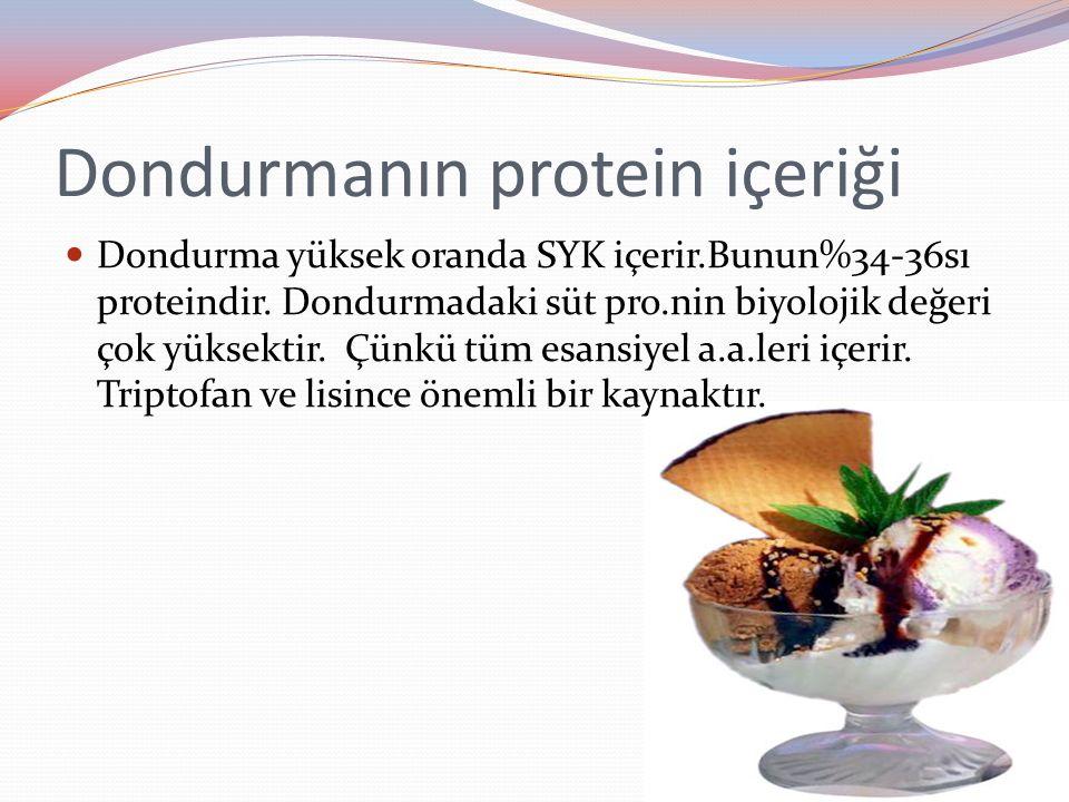 Dondurmanın protein içeriği Dondurma yüksek oranda SYK içerir.Bunun%34-36sı proteindir. Dondurmadaki süt pro.nin biyolojik değeri çok yüksektir. Çünkü