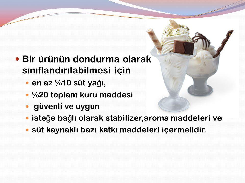 Bir ürünün dondurma olarak sınıflandırılabilmesi için en az %10 süt ya ğ ı, %20 toplam kuru maddesi güvenli ve uygun iste ğ e ba ğ lı olarak stabilize