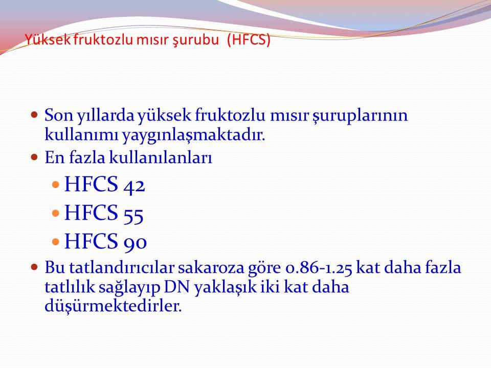 Yüksek fruktozlu mısır şurubu (HFCS) Son yıllarda yüksek fruktozlu mısır şuruplarının kullanımı yaygınlaşmaktadır. En fazla kullanılanları HFCS 42 HFC
