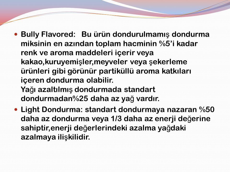Bully Flavored: Bu ürün dondurulmamı ş dondurma miksinin en azından toplam hacminin %5'i kadar renk ve aroma maddeleri içerir veya kakao,kuruyemi ş le