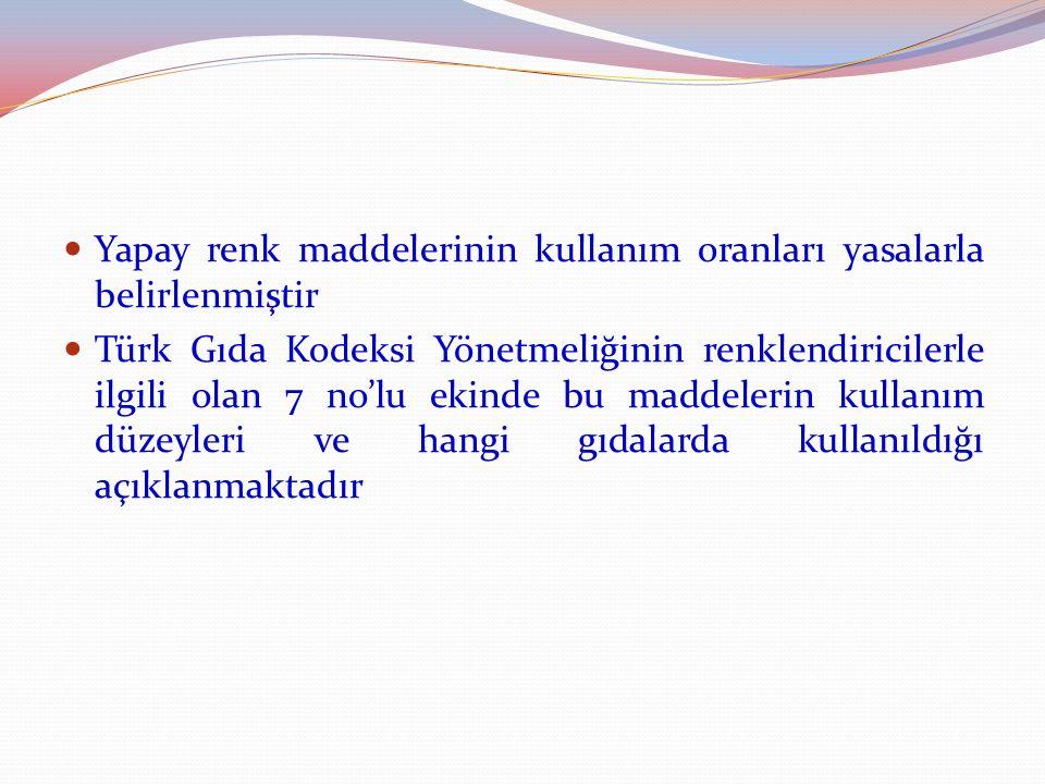 Yapay renk maddelerinin kullanım oranları yasalarla belirlenmiştir Türk Gıda Kodeksi Yönetmeliğinin renklendiricilerle ilgili olan 7 no'lu ekinde bu m