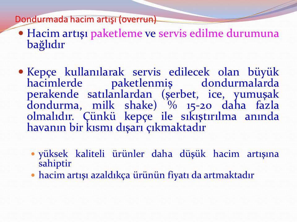Dondurmada hacim artışı (overrun) Hacim artışı paketleme ve servis edilme durumuna bağlıdır Kepçe kullanılarak servis edilecek olan büyük hacimlerde p