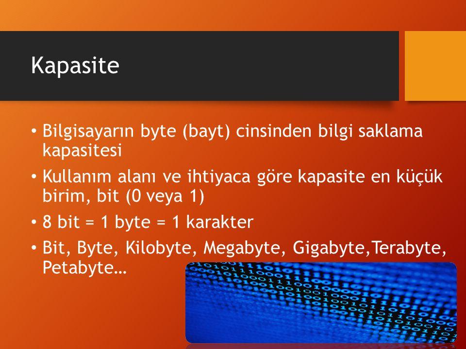 Kapasite Bilgisayarın byte (bayt) cinsinden bilgi saklama kapasitesi Kullanım alanı ve ihtiyaca göre kapasite en küçük birim, bit (0 veya 1) 8 bit = 1