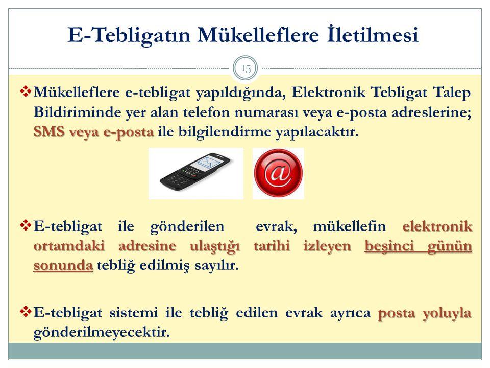 SMS veya e-posta  Mükelleflere e-tebligat yapıldığında, Elektronik Tebligat Talep Bildiriminde yer alan telefon numarası veya e-posta adreslerine; SM