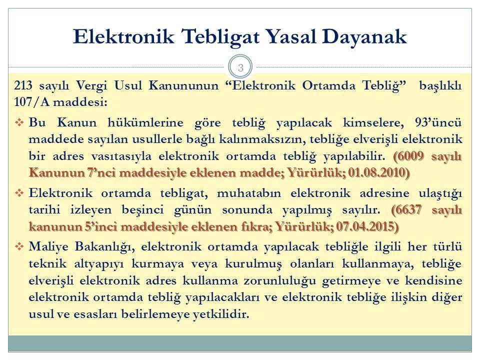 Elektronik Tebligat Yasal Dayanak 3 213 sayılı Vergi Usul Kanununun Elektronik Ortamda Tebliğ başlıklı 107/A maddesi: (6009 sayılı Kanunun 7'nci maddesiyle eklenen madde; Yürürlük; 01.08.2010)  Bu Kanun hükümlerine göre tebliğ yapılacak kimselere, 93'üncü maddede sayılan usullerle bağlı kalınmaksızın, tebliğe elverişli elektronik bir adres vasıtasıyla elektronik ortamda tebliğ yapılabilir.