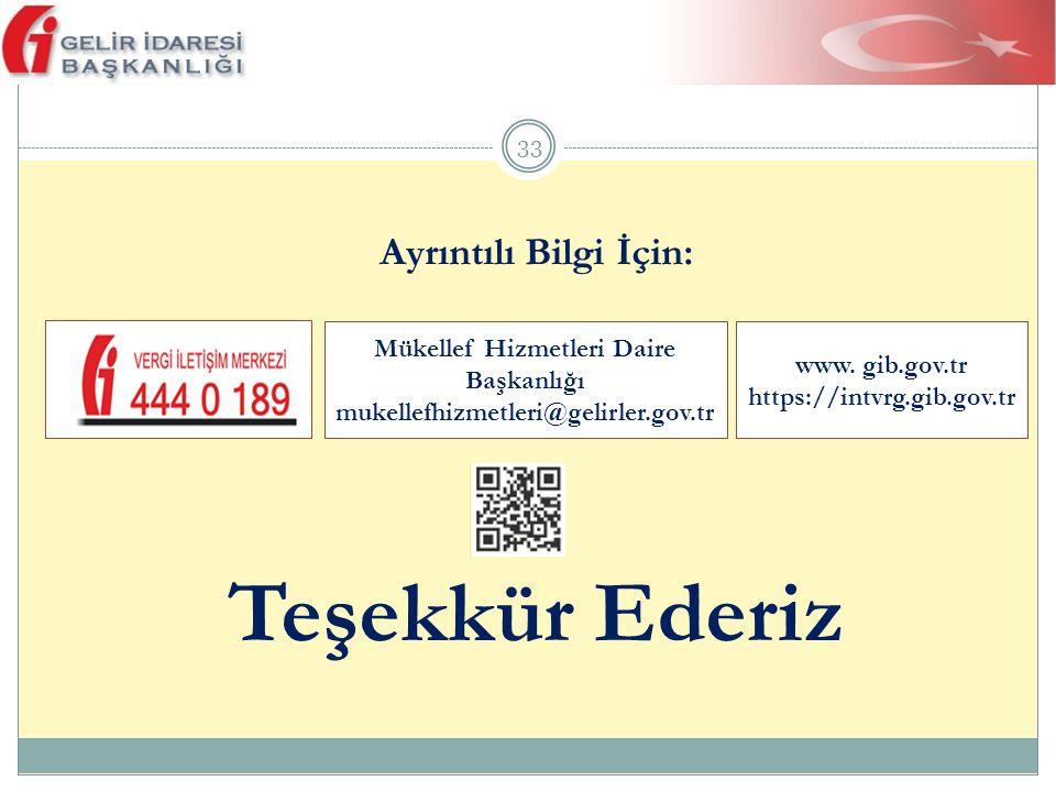 33 Ayrıntılı Bilgi İçin: Teşekkür Ederiz www. gib.gov.tr https://intvrg.gib.gov.tr Mükellef Hizmetleri Daire Başkanlığı mukellefhizmetleri@gelirler.go