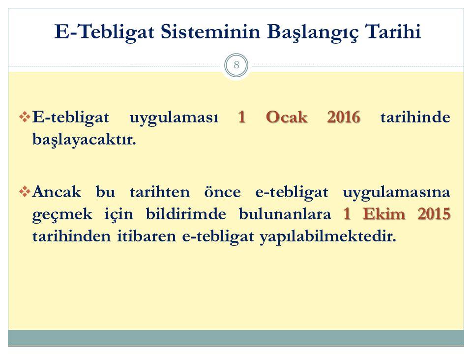 1 Ocak 2016  E-tebligat uygulaması 1 Ocak 2016 tarihinde başlayacaktır. 1 Ekim 2015  Ancak bu tarihten önce e-tebligat uygulamasına geçmek için bild
