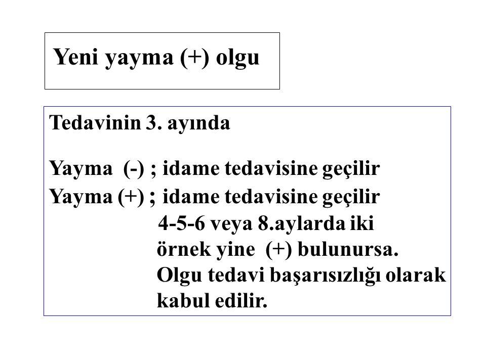 Tedavinin 3. ayında Yayma (-) ; idame tedavisine geçilir Yayma (+) ; idame tedavisine geçilir 4-5-6 veya 8.aylarda iki örnek yine (+) bulunursa. Olgu