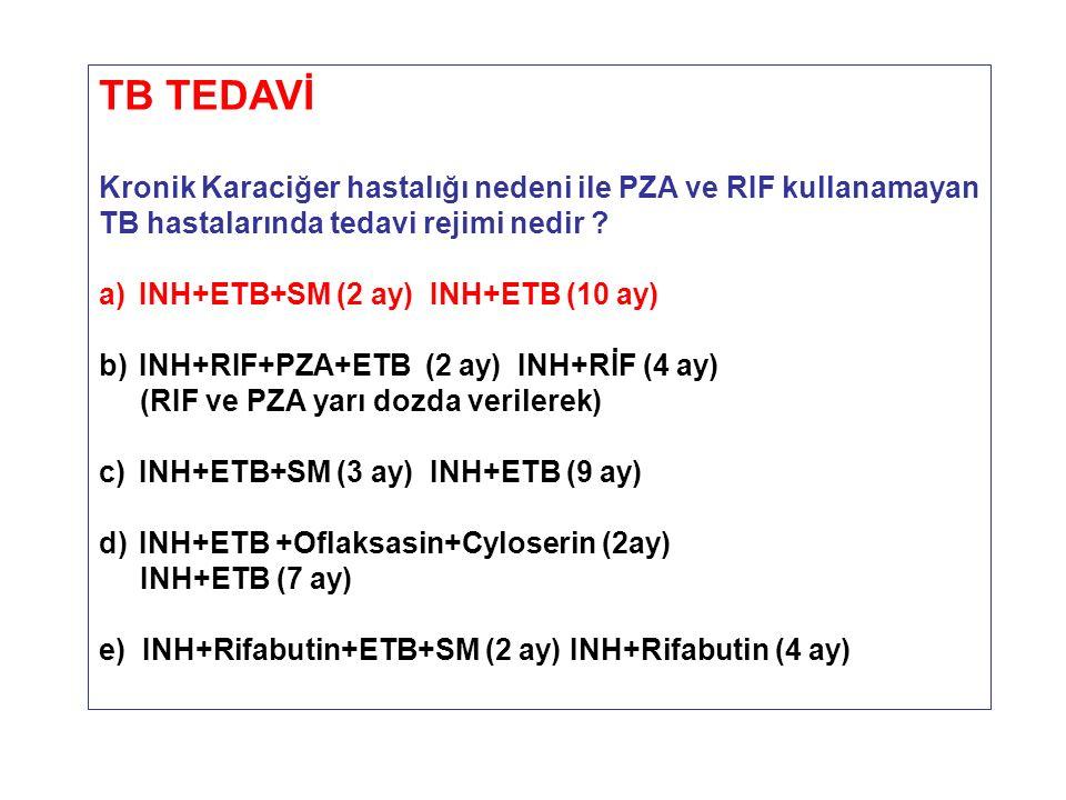 TB TEDAVİ Kronik Karaciğer hastalığı nedeni ile PZA ve RIF kullanamayan TB hastalarında tedavi rejimi nedir ? a)INH+ETB+SM (2 ay) INH+ETB (10 ay) b)IN