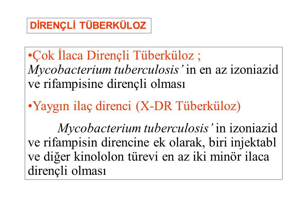Çok İlaca Dirençli Tüberküloz ; Mycobacterium tuberculosis' in en az izoniazid ve rifampisine dirençli olması Yaygın ilaç direnci (X-DR Tüberküloz) My