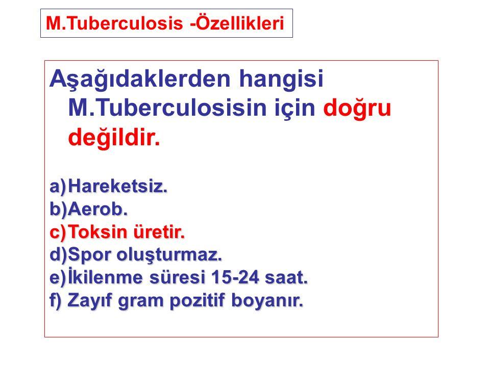 Aşağıdaklerden hangisi M.Tuberculosisin için doğru değildir. a)Hareketsiz. b)Aerob. c)Toksin üretir. d)Spor oluşturmaz. e)İkilenme süresi 15-24 saat.