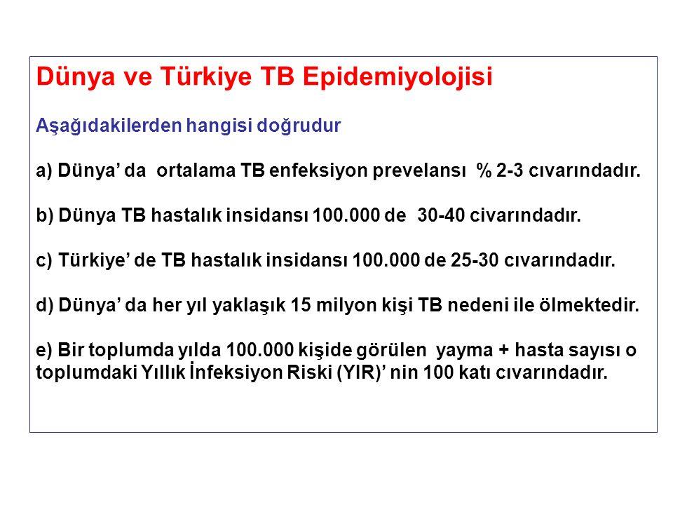 Dünya ve Türkiye TB Epidemiyolojisi Aşağıdakilerden hangisi doğrudur a) Dünya' da ortalama TB enfeksiyon prevelansı % 2-3 cıvarındadır. b) Dünya TB ha