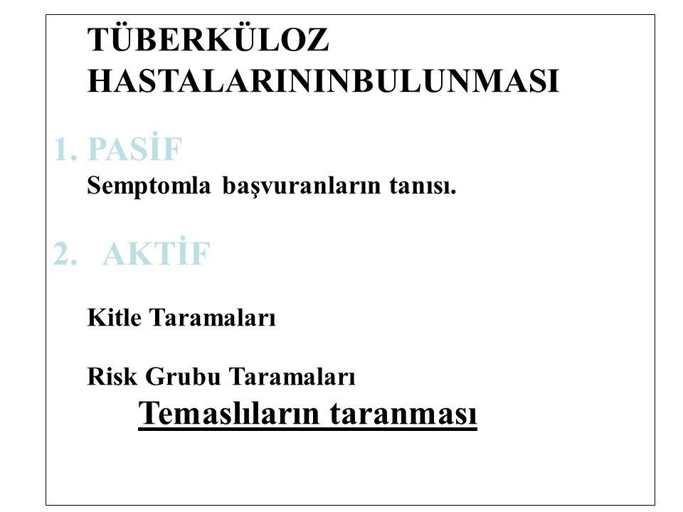 TÜBERKÜLOZ HASTALARININBULUNMASI 1.PASİF Semptomla başvuranların tanısı. 2. AKTİF Kitle Taramaları Risk Grubu Taramaları Temaslıların taranması