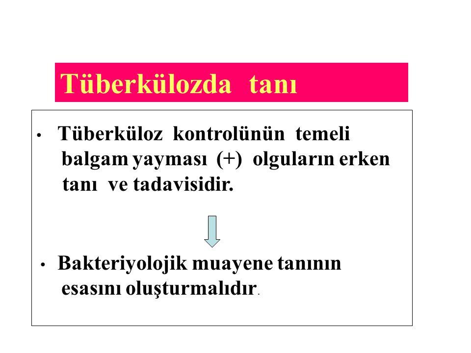 Tüberkülozda tanı Tüberküloz kontrolünün temeli balgam yayması (+) olguların erken tanı ve tadavisidir. Bakteriyolojik muayene tanının esasını oluştur