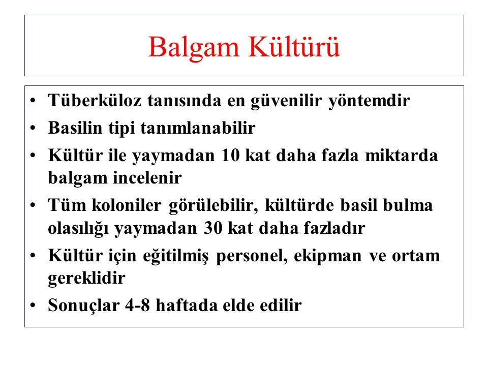 Balgam Kültürü Tüberküloz tanısında en güvenilir yöntemdir Basilin tipi tanımlanabilir Kültür ile yaymadan 10 kat daha fazla miktarda balgam incelenir