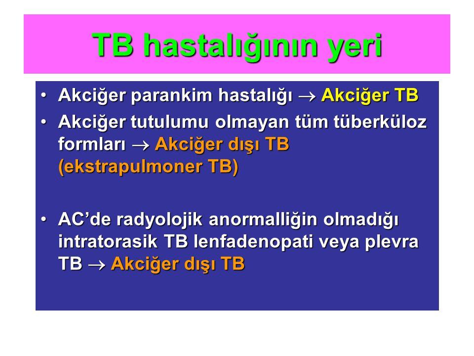 TB hastalığının yeri Akciğer parankim hastalığı  Akciğer TBAkciğer parankim hastalığı  Akciğer TB Akciğer tutulumu olmayan tüm tüberküloz formları 