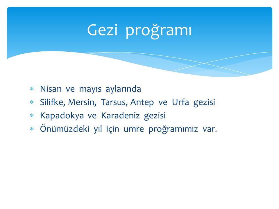  Nisan ve mayıs aylarında  Silifke, Mersin, Tarsus, Antep ve Urfa gezisi  Kapadokya ve Karadeniz gezisi  Önümüzdeki yıl için umre proğramımız var.