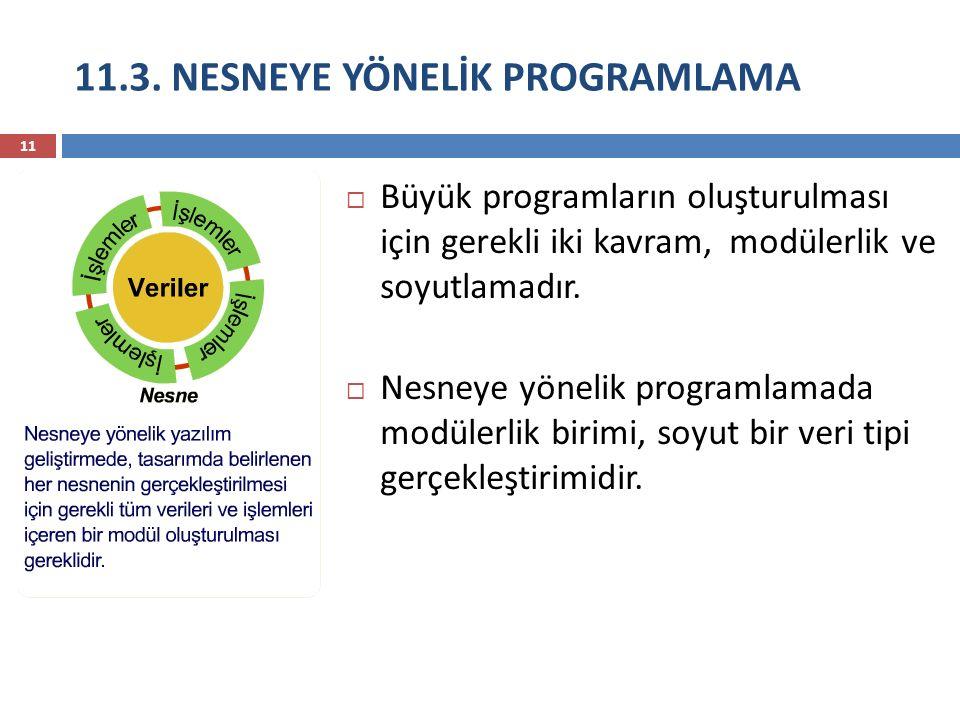 11.3. NESNEYE YÖNELİK PROGRAMLAMA 11  Büyük programların oluşturulması için gerekli iki kavram, modülerlik ve soyutlamadır.  Nesneye yönelik program