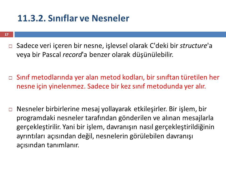11.3.2. Sınıflar ve Nesneler 17  Sadece veri içeren bir nesne, işlevsel olarak C'deki bir structure'a veya bir Pascal record'a benzer olarak düşünüle