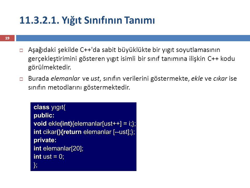 11.3.2.1. Yığıt Sınıfının Tanımı 19  Aşağıdaki şekilde C++'da sabit büyüklükte bir yıgıt soyutlamasının gerçekleştirimini gösteren yıgıt isimli bir s