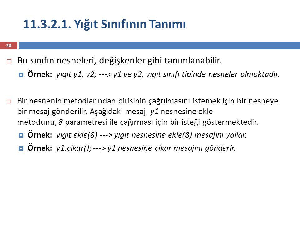 11.3.2.1. Yığıt Sınıfının Tanımı 20  Bu sınıfın nesneleri, değişkenler gibi tanımlanabilir.  Örnek: yıgıt y1, y2; ---> y1 ve y2, yıgıt sınıfı tipind