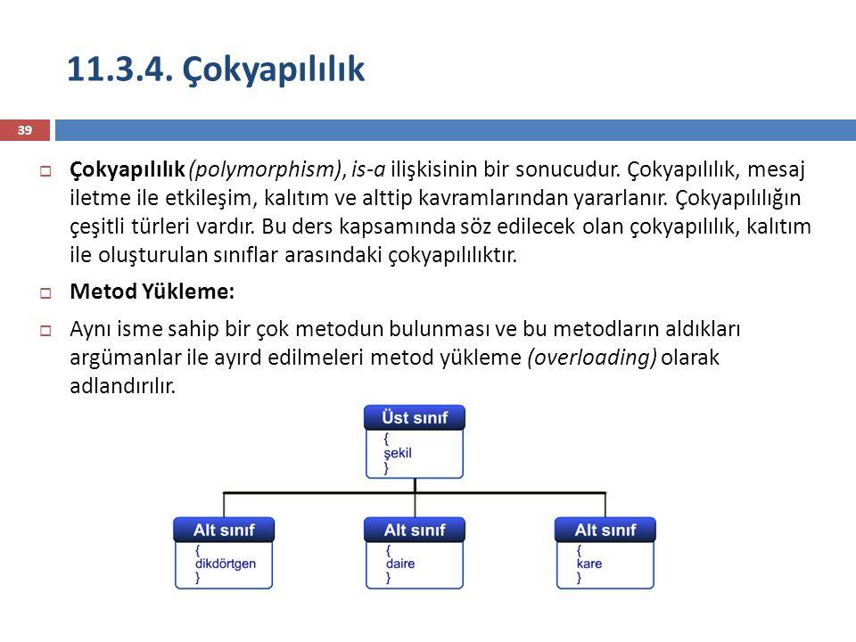 11.3.4. Çokyapılılık 39  Çokyapılılık (polymorphism), is-a ilişkisinin bir sonucudur. Çokyapılılık, mesaj iletme ile etkileşim, kalıtım ve alttip kav