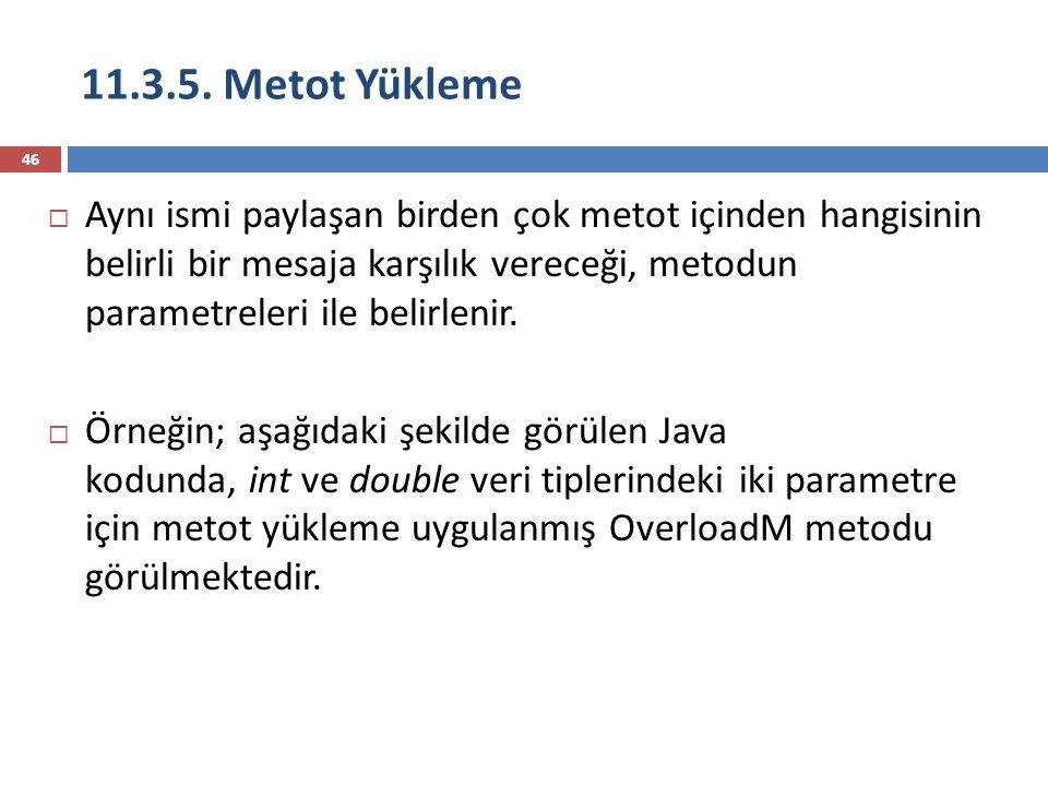 11.3.5. Metot Yükleme 46  Aynı ismi paylaşan birden çok metot içinden hangisinin belirli bir mesaja karşılık vereceği, metodun parametreleri ile beli