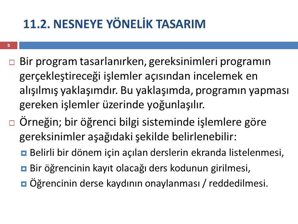 11.2. NESNEYE YÖNELİK TASARIM 5  Bir program tasarlanırken, gereksinimleri programın gerçekleştireceği işlemler açısından incelemek en alışılmış yakl