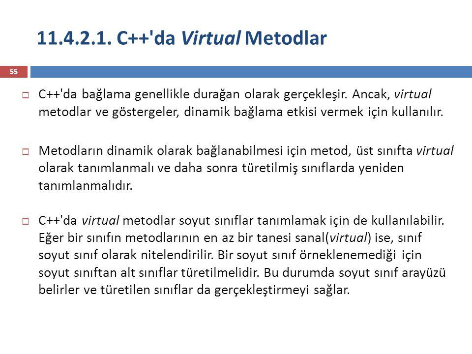 11.4.2.1. C++'da Virtual Metodlar 55  C++'da bağlama genellikle durağan olarak gerçekleşir. Ancak, virtual metodlar ve göstergeler, dinamik bağlama e