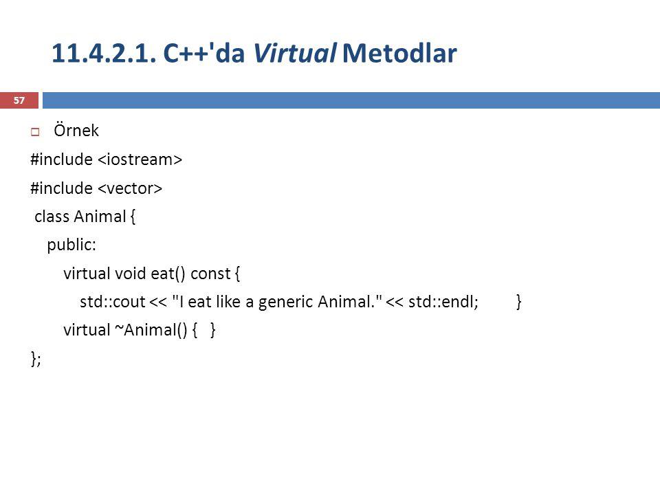 11.4.2.1. C++'da Virtual Metodlar 57  Örnek #include class Animal { public: virtual void eat() const { std::cout <<