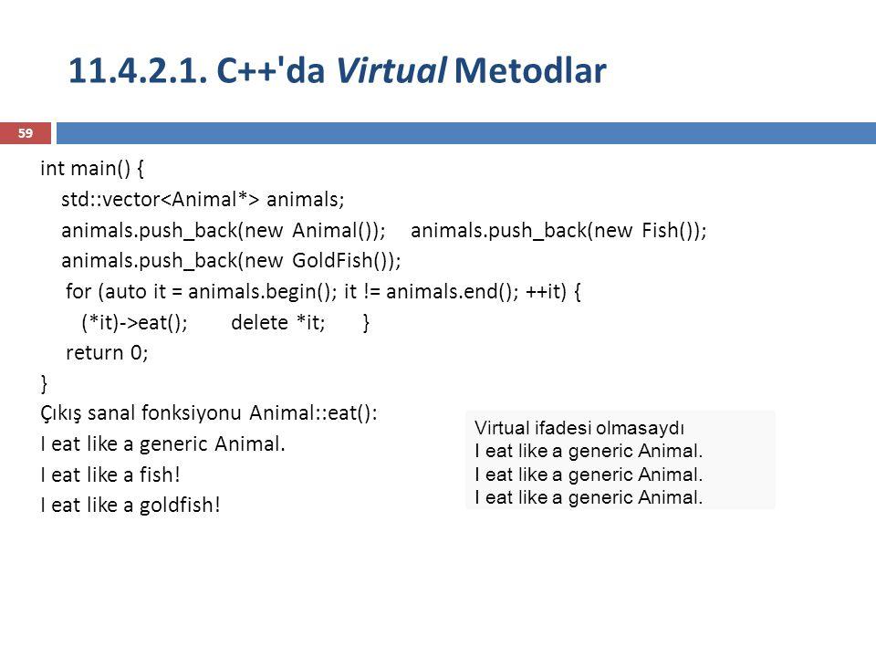 11.4.2.1. C++'da Virtual Metodlar 59 int main() { std::vector animals; animals.push_back(new Animal()); animals.push_back(new Fish()); animals.push_ba