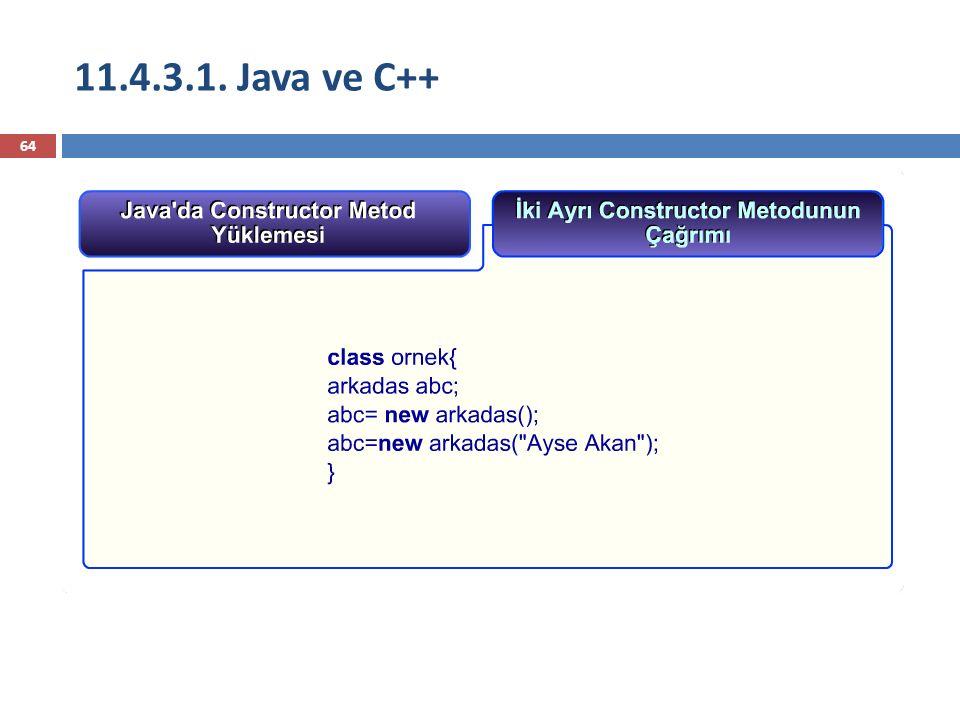 11.4.3.1. Java ve C++ 64