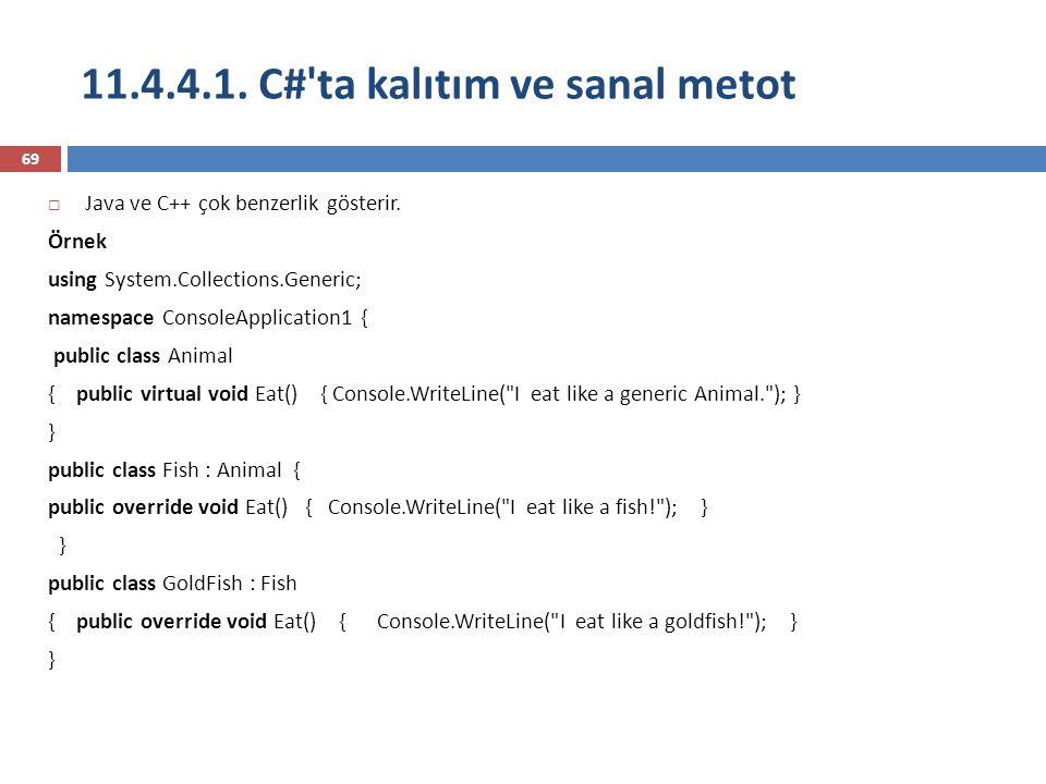 11.4.4.1. C#'ta kalıtım ve sanal metot 69  Java ve C++ çok benzerlik gösterir. Örnek using System.Collections.Generic; namespace ConsoleApplication1