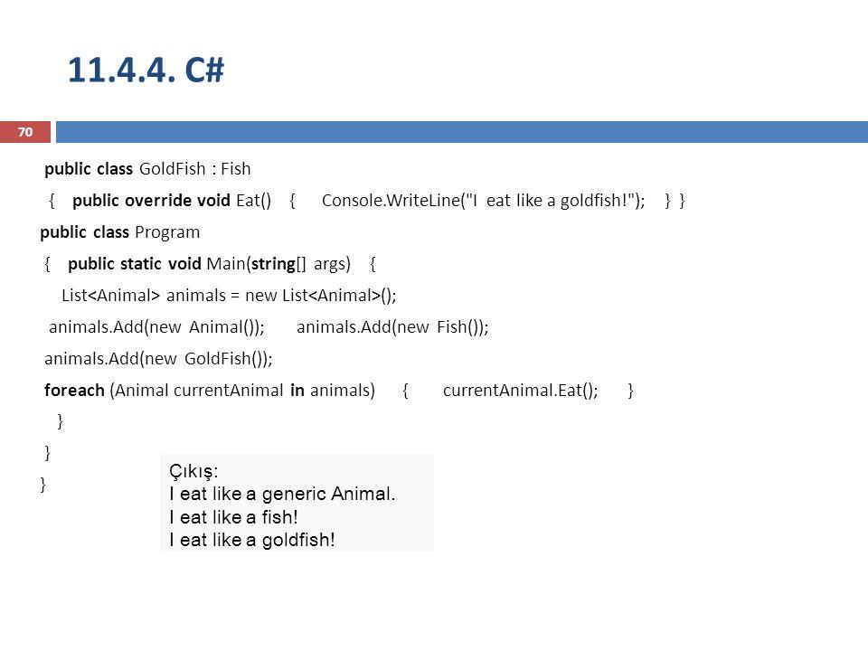 11.4.4. C# 70 public class GoldFish : Fish { public override void Eat() { Console.WriteLine(