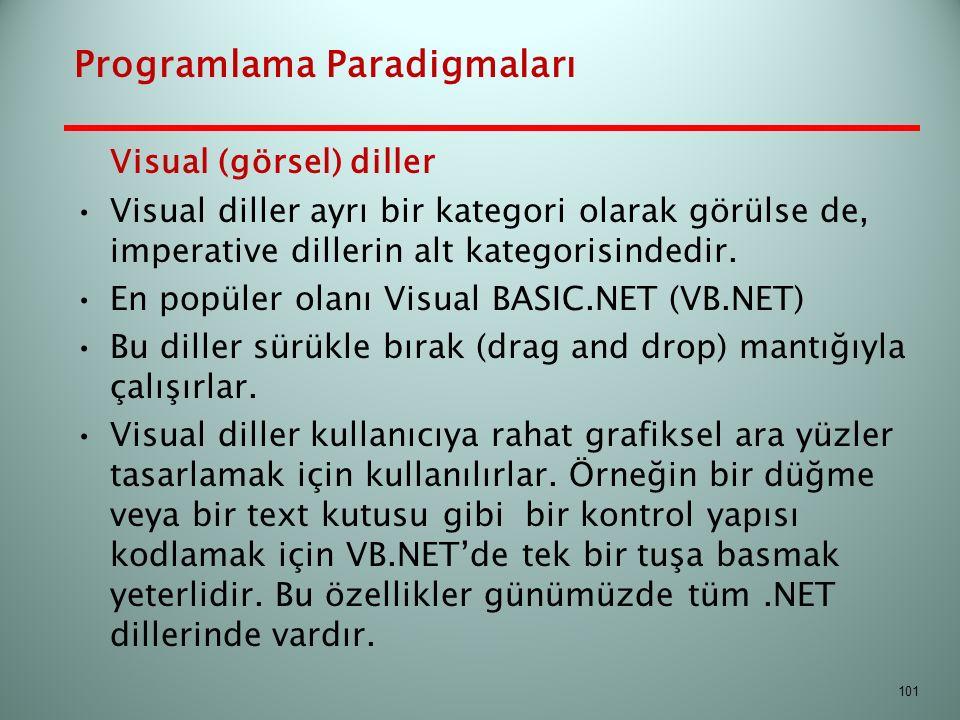 Visual (görsel) diller Visual diller ayrı bir kategori olarak görülse de, imperative dillerin alt kategorisindedir. En popüler olanı Visual BASIC.NET