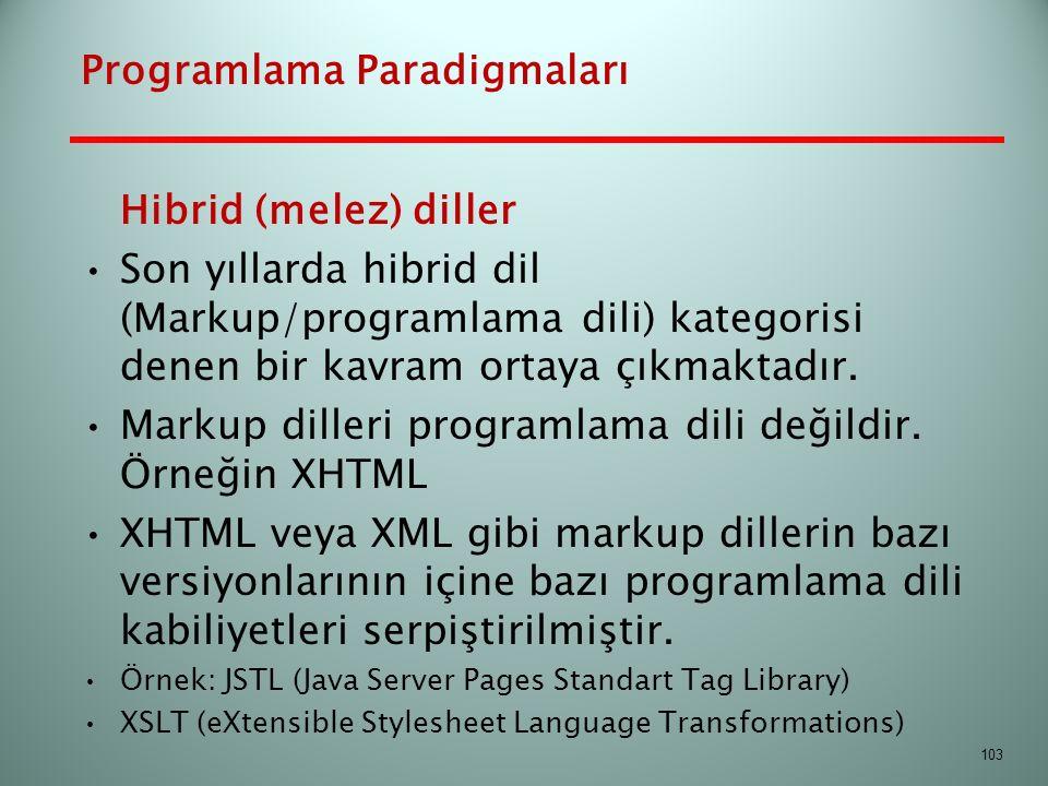 Hibrid (melez) diller Son yıllarda hibrid dil (Markup/programlama dili) kategorisi denen bir kavram ortaya çıkmaktadır. Markup dilleri programlama dil