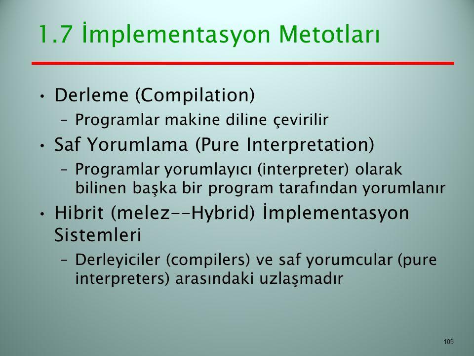 1.7 İmplementasyon Metotları Derleme (Compilation) –Programlar makine diline çevirilir Saf Yorumlama (Pure Interpretation) –Programlar yorumlayıcı (in