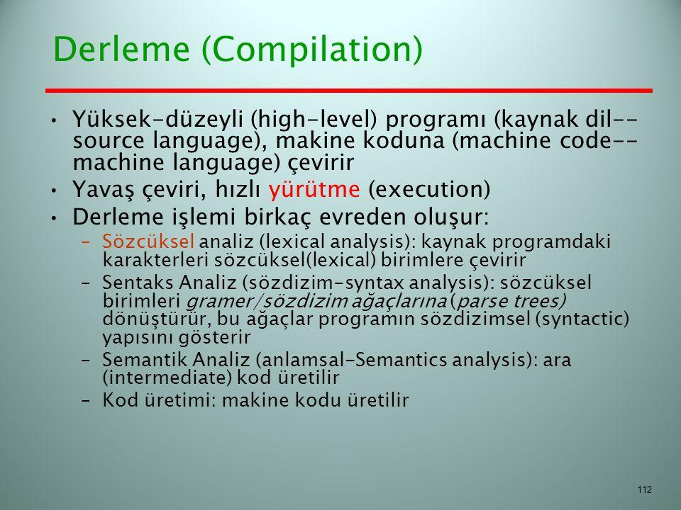 Derleme (Compilation) Yüksek-düzeyli (high-level) programı (kaynak dil-- source language), makine koduna (machine code-- machine language) çevirir Yav