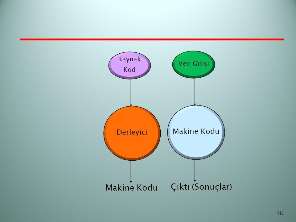 113 Kaynak Kod Derleyici Makine Kodu Veri Girişi Makine Kodu Çıktı (Sonuçlar)