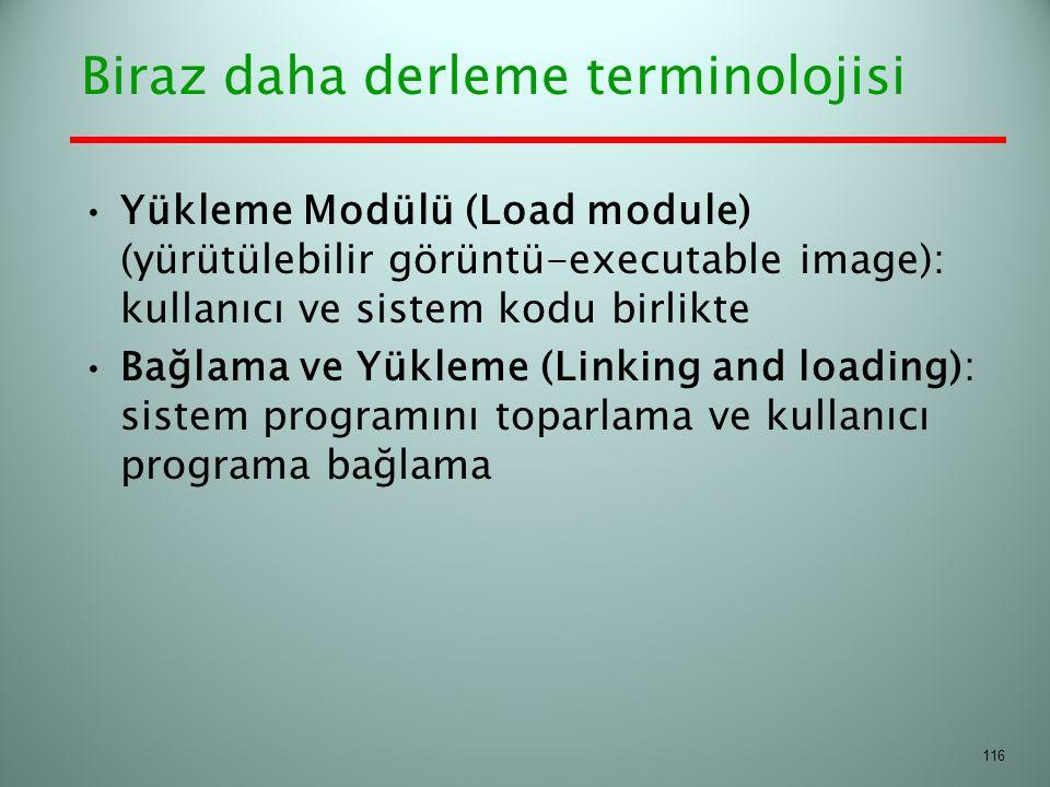 Biraz daha derleme terminolojisi Yükleme Modülü (Load module) (yürütülebilir görüntü-executable image): kullanıcı ve sistem kodu birlikte Bağlama ve Y