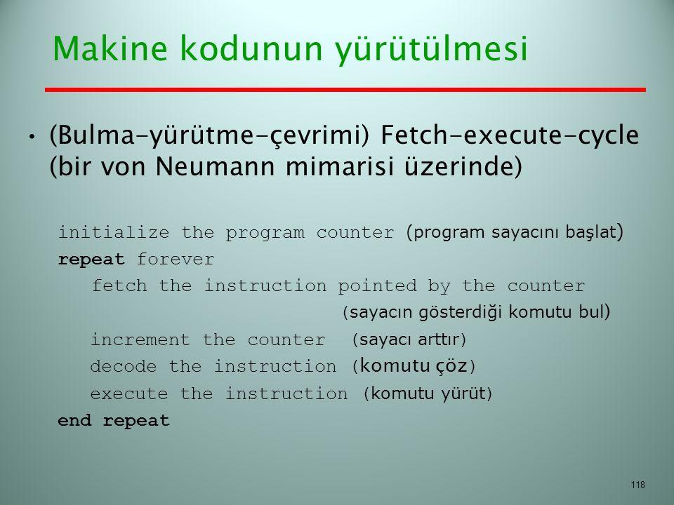 Makine kodunun yürütülmesi (Bulma-yürütme-çevrimi) Fetch-execute-cycle (bir von Neumann mimarisi üzerinde) initialize the program counter (program say