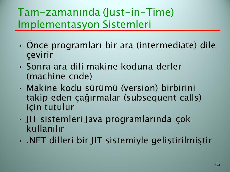 Tam-zamanında (Just-in-Time) Implementasyon Sistemleri Önce programları bir ara (intermediate) dile çevirir Sonra ara dili makine koduna derler (machi