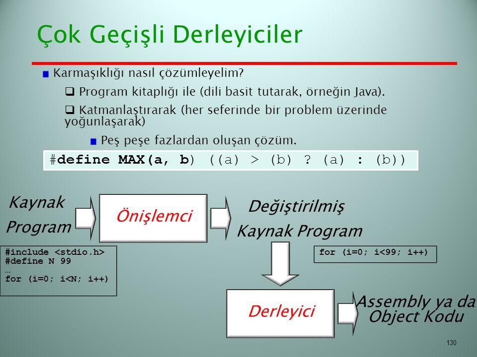 Çok Geçişli Derleyiciler 130 #define MAX(a, b) ((a) > (b) ? (a) : (b)) Derleyici Önişlemci Kaynak Program Değiştirilmiş Kaynak Program Assembly ya da