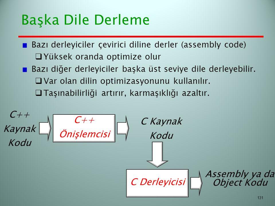 Başka Dile Derleme Bazı derleyiciler çevirici diline derler (assembly code)  Yüksek oranda optimize olur Bazı diğer derleyiciler başka üst seviye dil