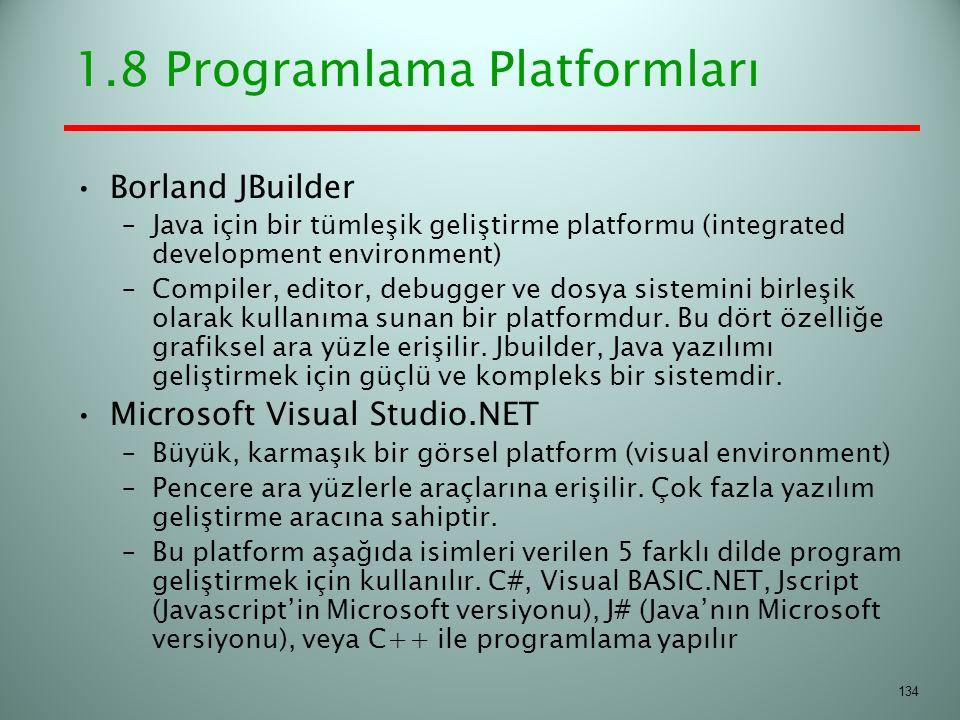 1.8 Programlama Platformları Borland JBuilder –Java için bir tümleşik geliştirme platformu (integrated development environment) –Compiler, editor, deb
