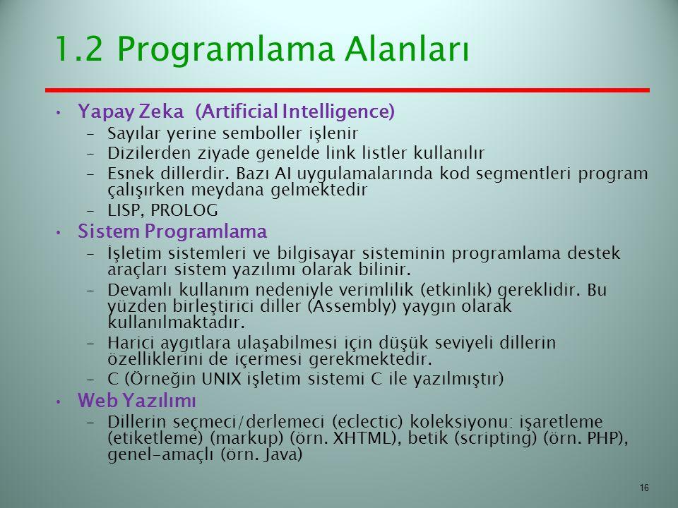 1.2 Programlama Alanları Yapay Zeka (Artificial Intelligence) –Sayılar yerine semboller işlenir –Dizilerden ziyade genelde link listler kullanılır –Es