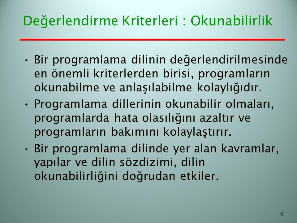 Bir programlama dilinin değerlendirilmesinde en önemli kriterlerden birisi, programların okunabilme ve anlaşılabilme kolaylığıdır. Programlama dilleri